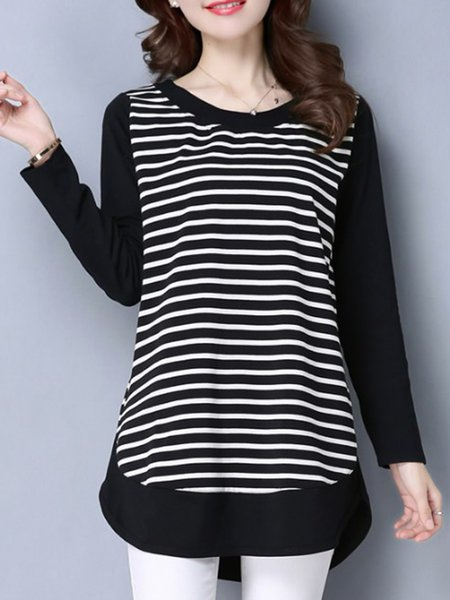 Long Sleeve Simple Cotton-blend Tunic Top