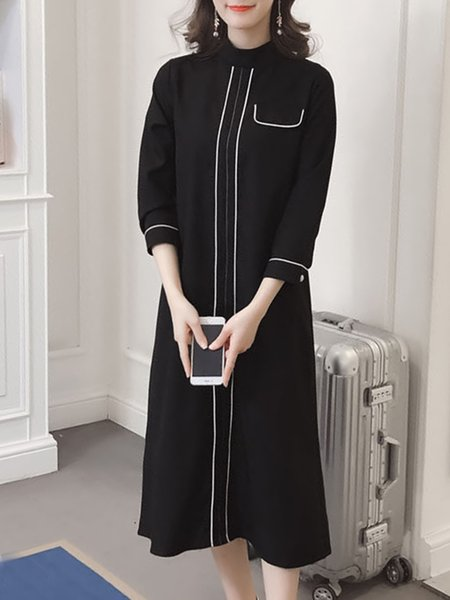Solid Piping Elegant Long Sleeve Dress
