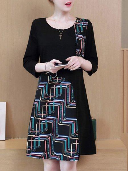Black Elegant Cotton-blend Paneled A-line Dress