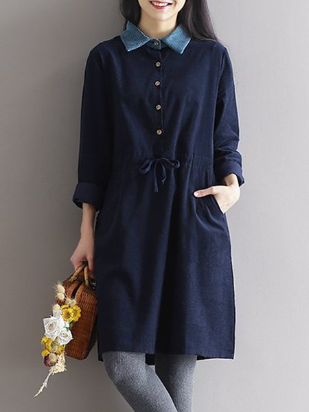 Blue Shirt Collar A-line Casual Dress