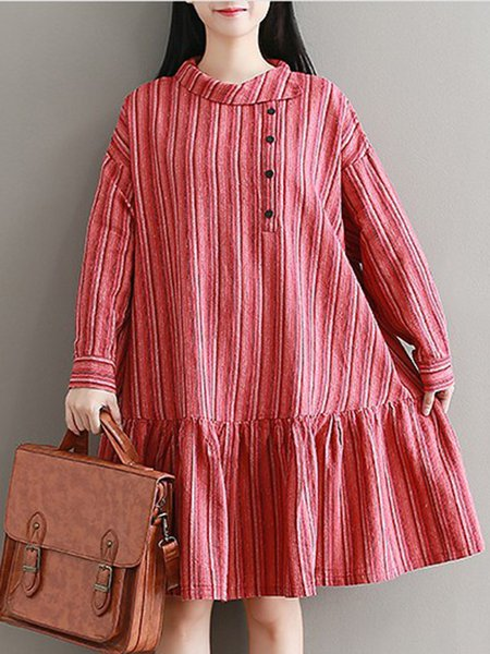 Red Cotton-blend Casual Stripes A-line Dress