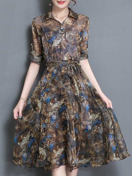 Long Sleeve Floral Casual Floral-print Shirt Collar Dress