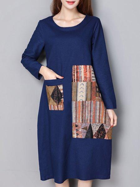 Linen Casual Long Sleeve A-line Dress