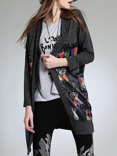 Abstract Casual Long Sleeve Printed Cotton-blend Cardigan