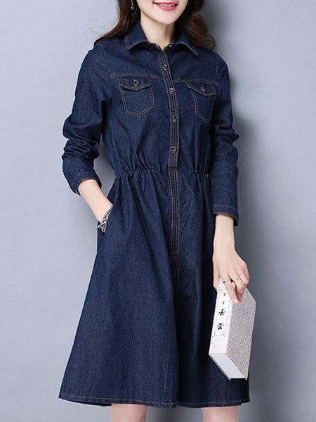 Shirt Collar Long Sleeve Casual Dress
