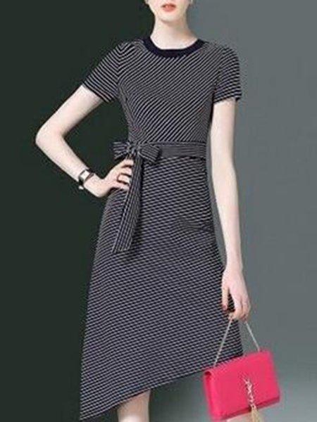 Black Short Sleeve Crew Neck Dress