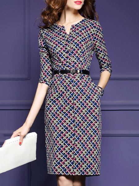 Crew Neck Short Sleeve Cotton-blend Elegant Dress