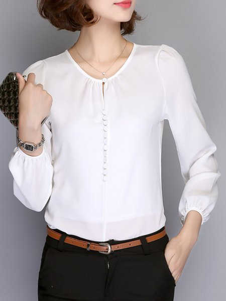 Chiffon Long Sleeve Crew Neck Buttoned Blouse
