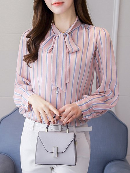 Chiffon Tie-neck Bow Sweet Shirt