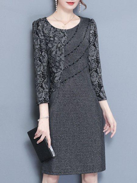 Gray Paneled Long Sleeve Dress