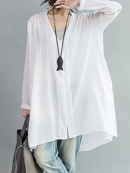V Neck Solid Long Sleeve Tunic Top