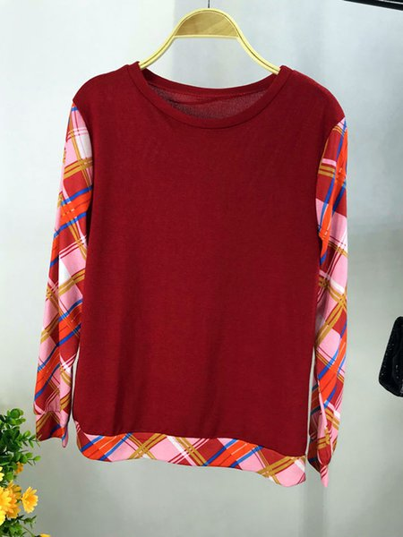 Cotton-blend Paneled Casual Long Sleeve T-shirt