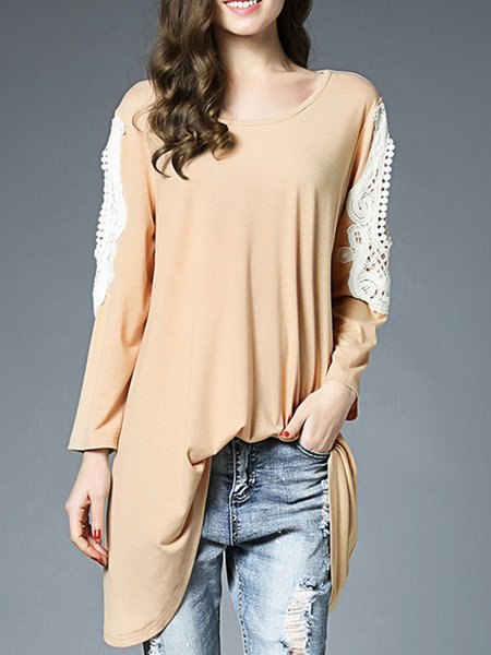 Paneled Long Sleeve Casual Crew Neck Lace Tunic Top