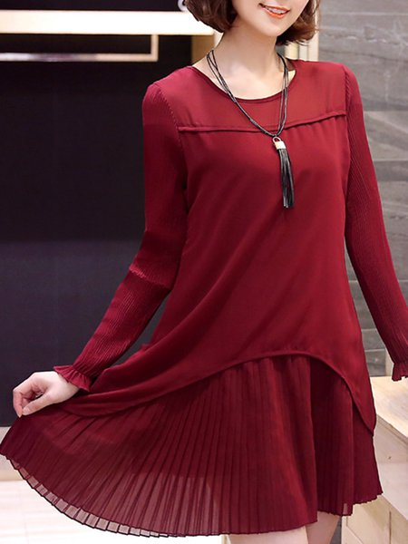 Casual Crew Neck Cotton-blend Solid Dress