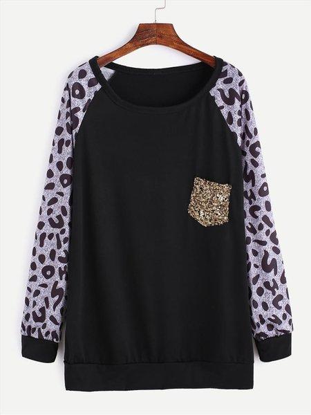 Black Paneled Cotton-blend Casual T-Shirt