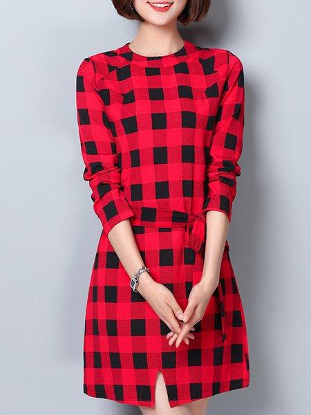 Long Sleeve Slit Checkered/Plaid A-line Dress