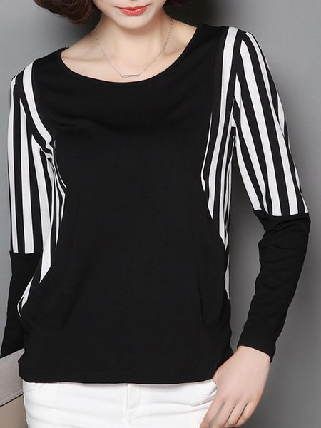 Long Sleeve Stripes Paneled Crew Neck T-Shirt