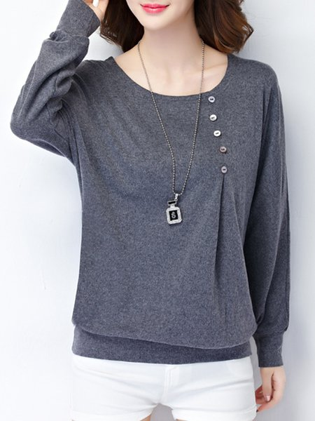 Buttoned Cotton-blend Long Sleeve Solid Casual T-Shirt