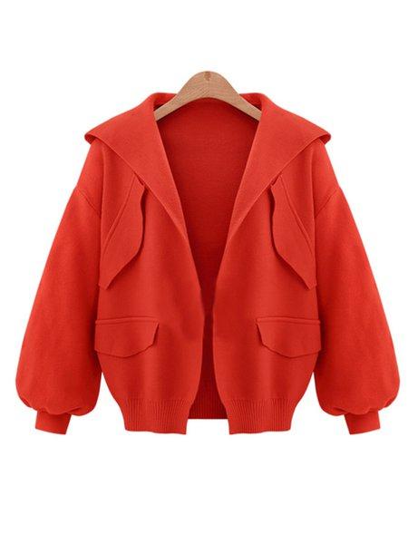 Hoodie Cotton-blend Long Sleeve Pockets Simple Jacket