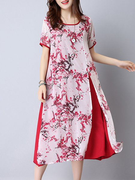 Women Print Dress Crew Neck A-line Daytime Short Sleeve Floral Dress