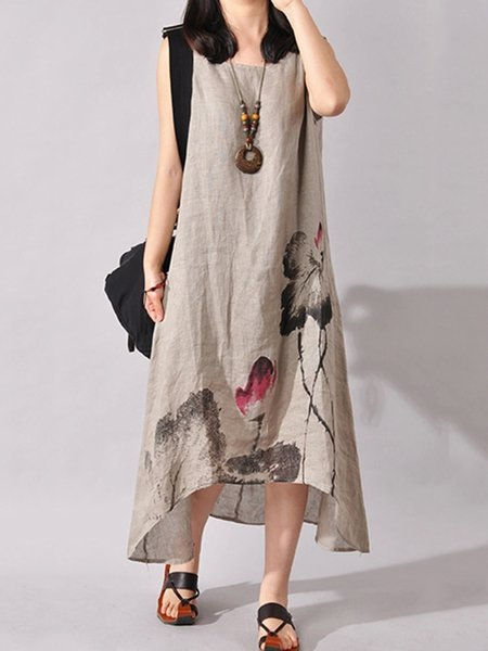 Women Print Dress Crew Neck A-line Daily Casual Printed Dress