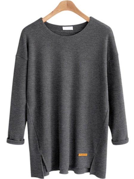 Cotton-blend Slit Long Sleeve Crew Neck T-Shirt