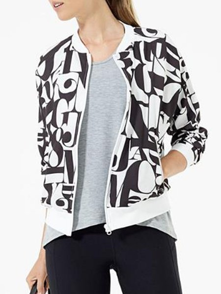 Printed Cotton-blend Crew Neck Long Sleeve Casual Jacket