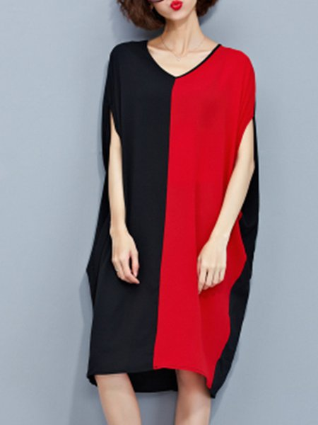 Black Women Casual Dress Crew Neck A-line Casual Paneled Dress