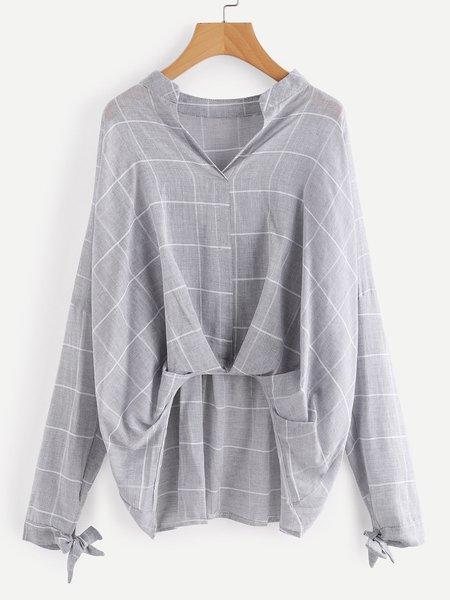 Stand Collar Long Sleeve Cotton-blend Shirt