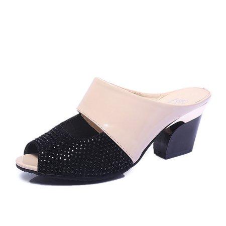Chunky Heel Rhinestone Casual Slippers