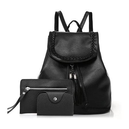 Women 3pcs Multifunctional Black Casual Backpack Clutch Bag