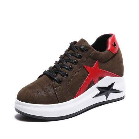Athletic Star Patch Lace-up PU Platform Sneakers