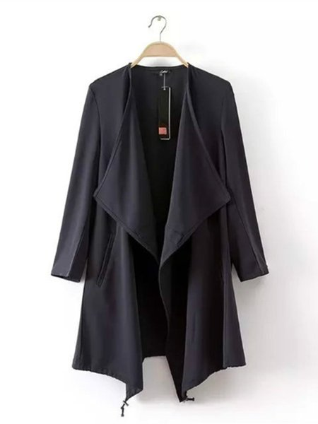 Asymmetric Cotton-blend Casual Trench Coat