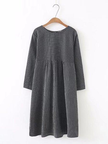 Black Women Casual Dress Crew Neck Daytime Cotton-blend Striped Dress