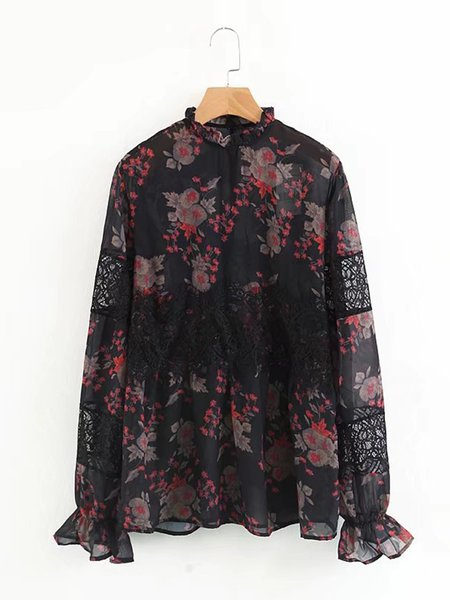Black Floral Paneled Casual Blouse