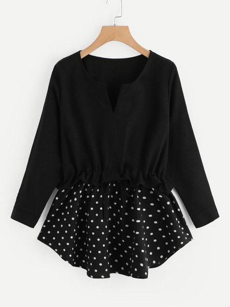 Black Crew Neck Polka Dots Long Sleeve Blouse