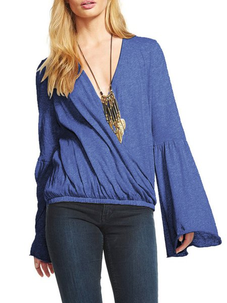 Casual Deep V-Neck Solid Bell Sleeve Blouse