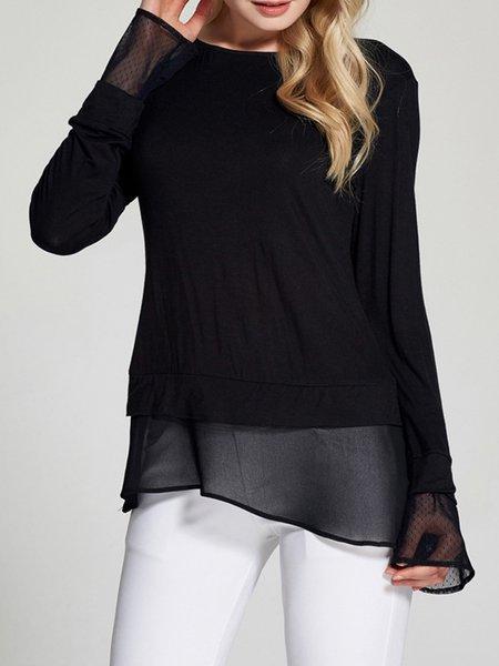 Black Solid Long Sleeve Chiffon Paneled T-Shirt