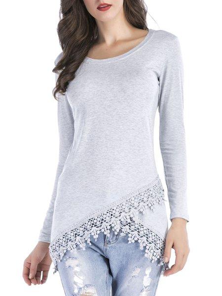 Light Gray Crew Neck Lace Long Sleeve T-Shirt