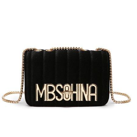 Elegant Stylish Women Velvet Letter Printed Chain Crossbody Clutch Bag