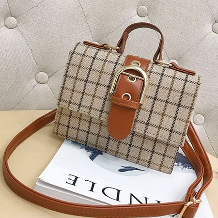 Women Vintage Gingham Square Canvas Handbag Shoulder Crossbody Bag