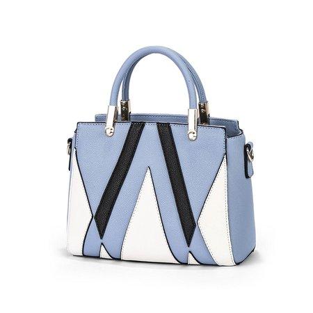 Women Stylish Color-bloke Stripe Casual PU Leather Tote Bag