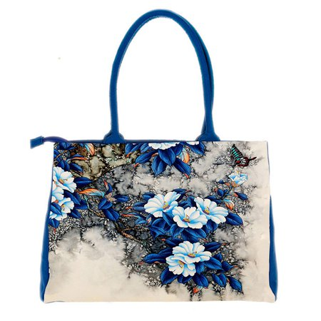 Ethnic Style Retro Flower Printed High Capacity Tote Bag