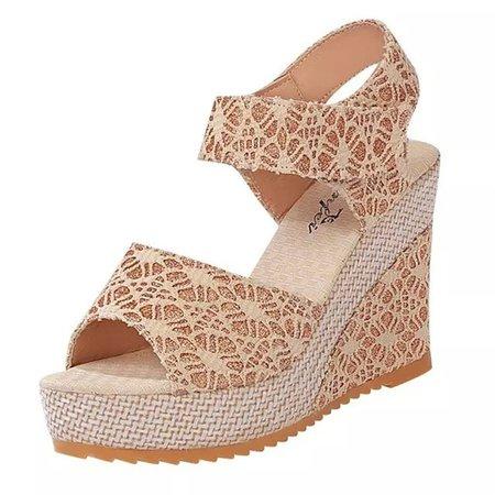 Magic Tape Peep Toe Casual Wedge Heel Sandals