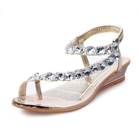 Rhinestone Casual PU Clip Toe Elastic Sandals