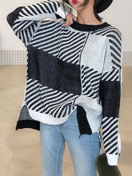 Cotton-blend Crew Neck Color-block Casual Sweater