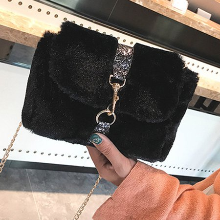 Sweet Plush Keychain Buckle Dating Shopping Clutch Purse Crossbody Bag