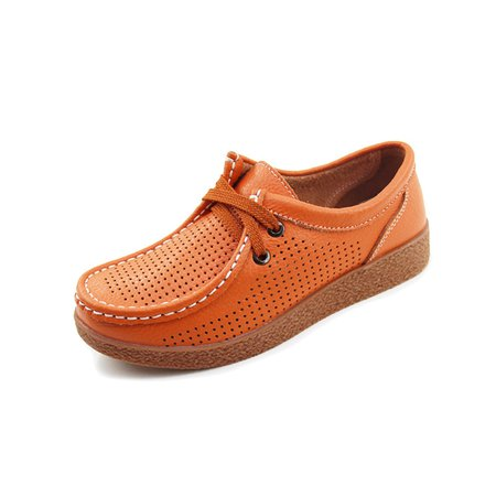 Large Size Hollow-out Genuine Leather Lace-up Loafers