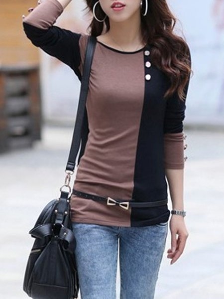 Crew Neck Cotton-blend Buttoned Long Sleeve T-Shirt