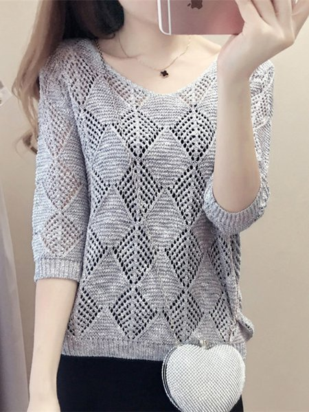 V Neck Casual Knitted 3/4 Sleeve T-Shirt